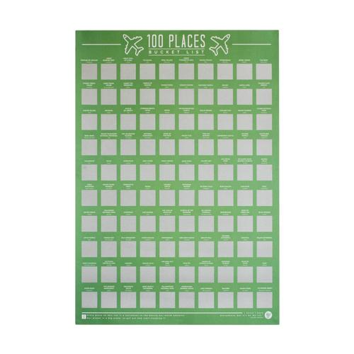 Gift Republics 100 Places Scratch Off Bucket List Poster