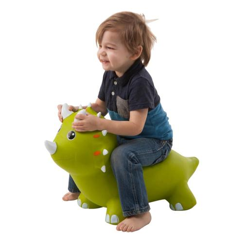 HearthSong Animal Jump-Along - Green Triceratops