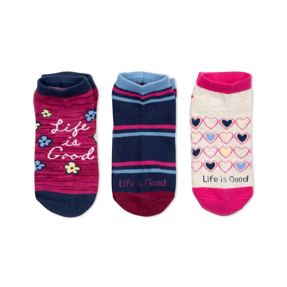 Life is Good Girls Good Hearts Low Cut Socks-3-Pack LIGHEARTS