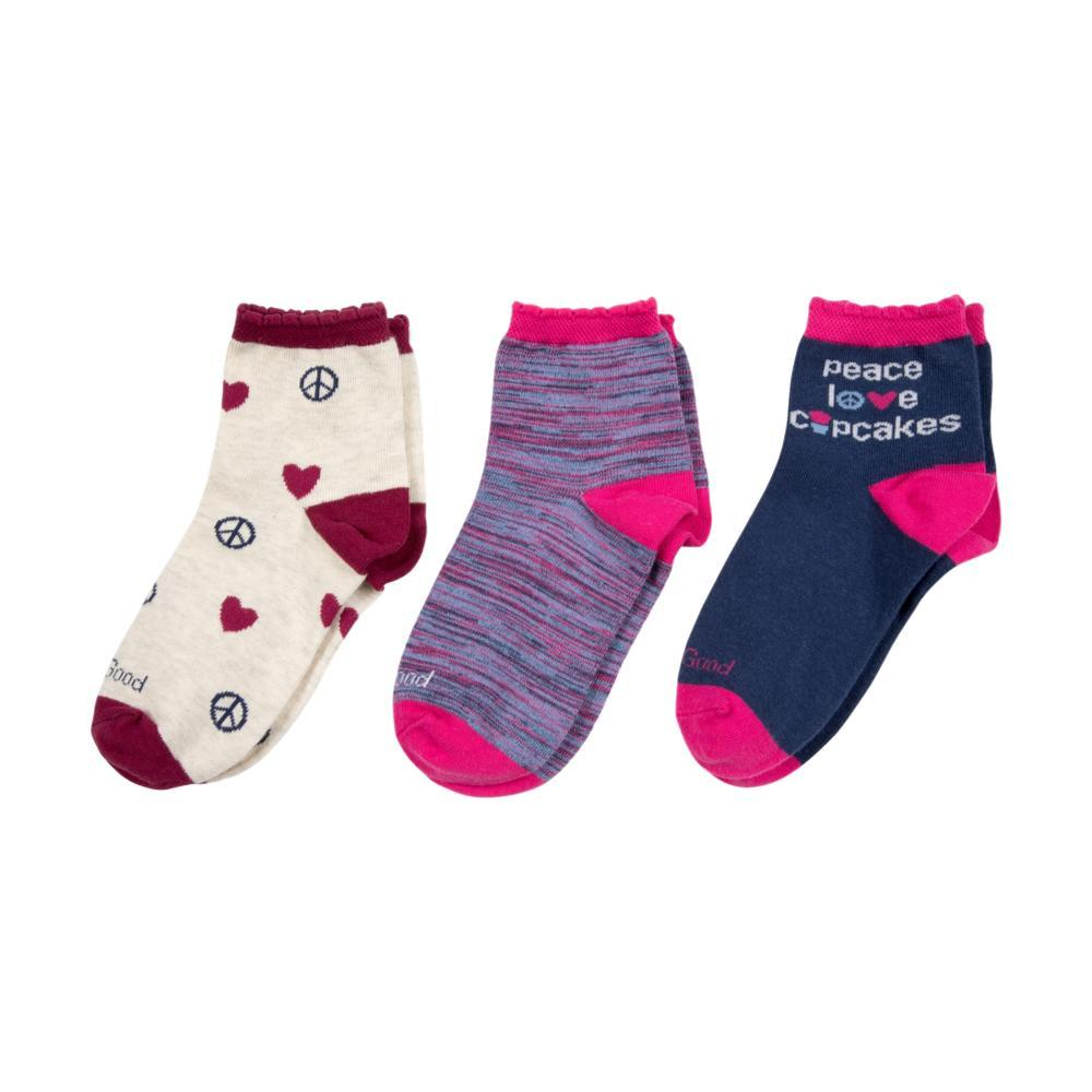 Life is Good Girls Peace, Love, Cupcakes Quater Socks-3-Pack PEACELOVECAKE