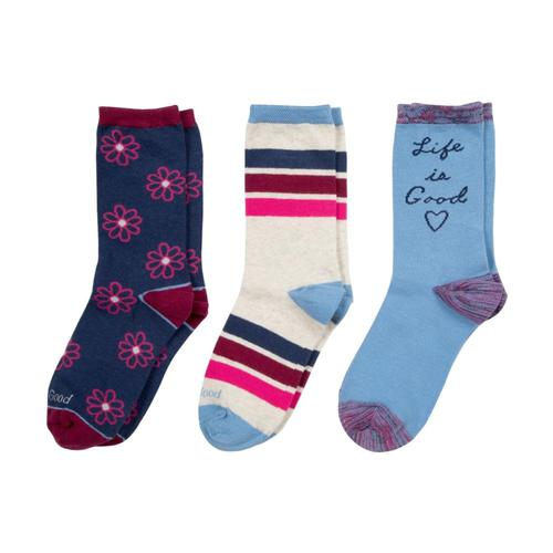 Life is Good Girls Hear & Daisies Crew Socks-3-Pack Heartdaisy