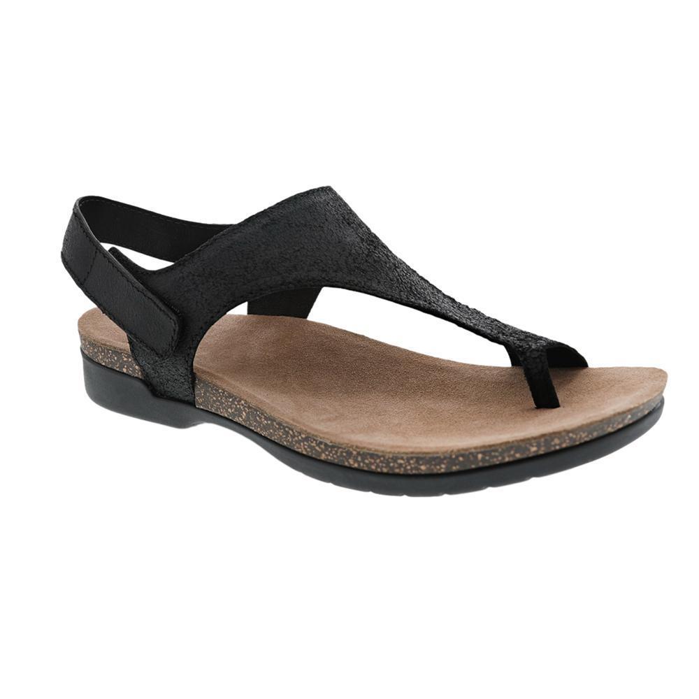 Dansko Women's Reece Black Full Grain Suede Sandals BLACK