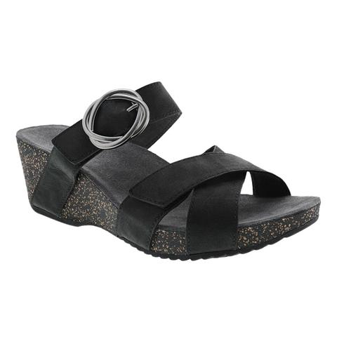 Dansko Women's Susie Black Milled Nubuck Sandals Black