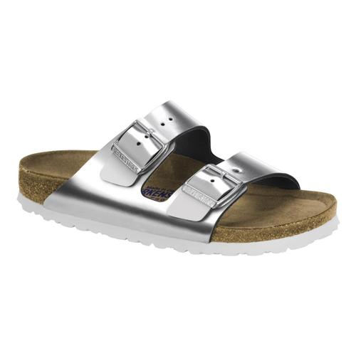 Birkenstock Women's Arizona Soft Footbed Leather Sandals Metsilv