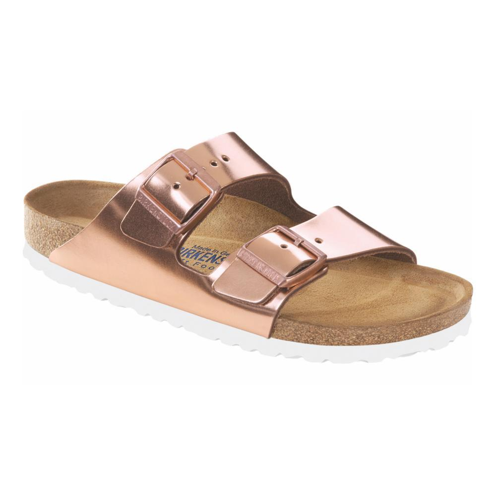 Birkenstock Women's Arizona Soft Footbed Leather Sandals METCOP.WHTBTM
