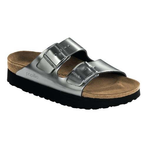 Birkenstock Women's Arizona Platform Leather Sandals Metsilv