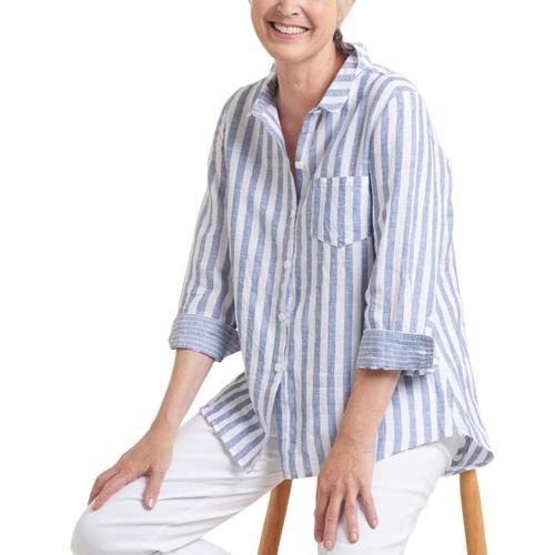 Habitat Clothing Women's Seaside Linen Stripe Shaped Shirt Denim