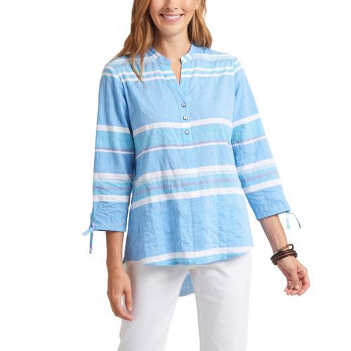 Habitat Clothing Women's Newport Stripe Split Collar Shirt Sea