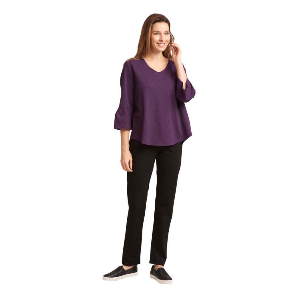 Habitat Clothing Women's Pleated Flounce Sleeve Easy Tee EGGPLANT