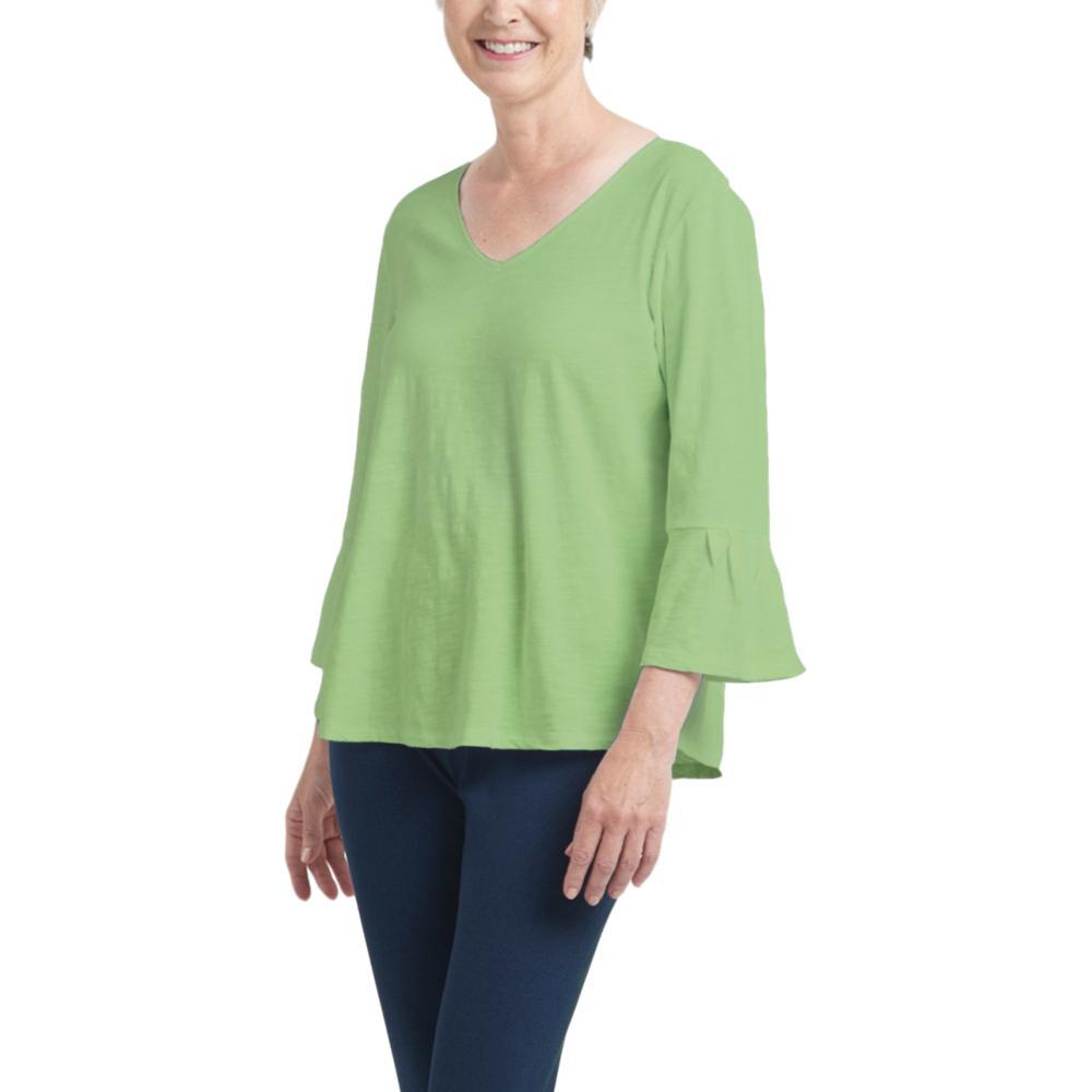 Habitat Clothing Women's Pleated Flounce Sleeve Easy Tee GREENTEA