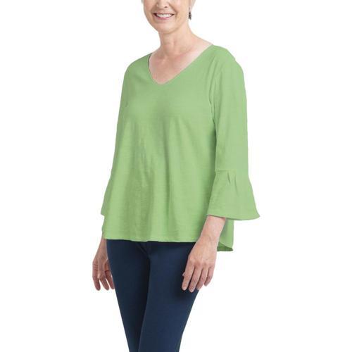 Habitat Clothing Women's Pleated Flounce Sleeve Easy Tee Greentea