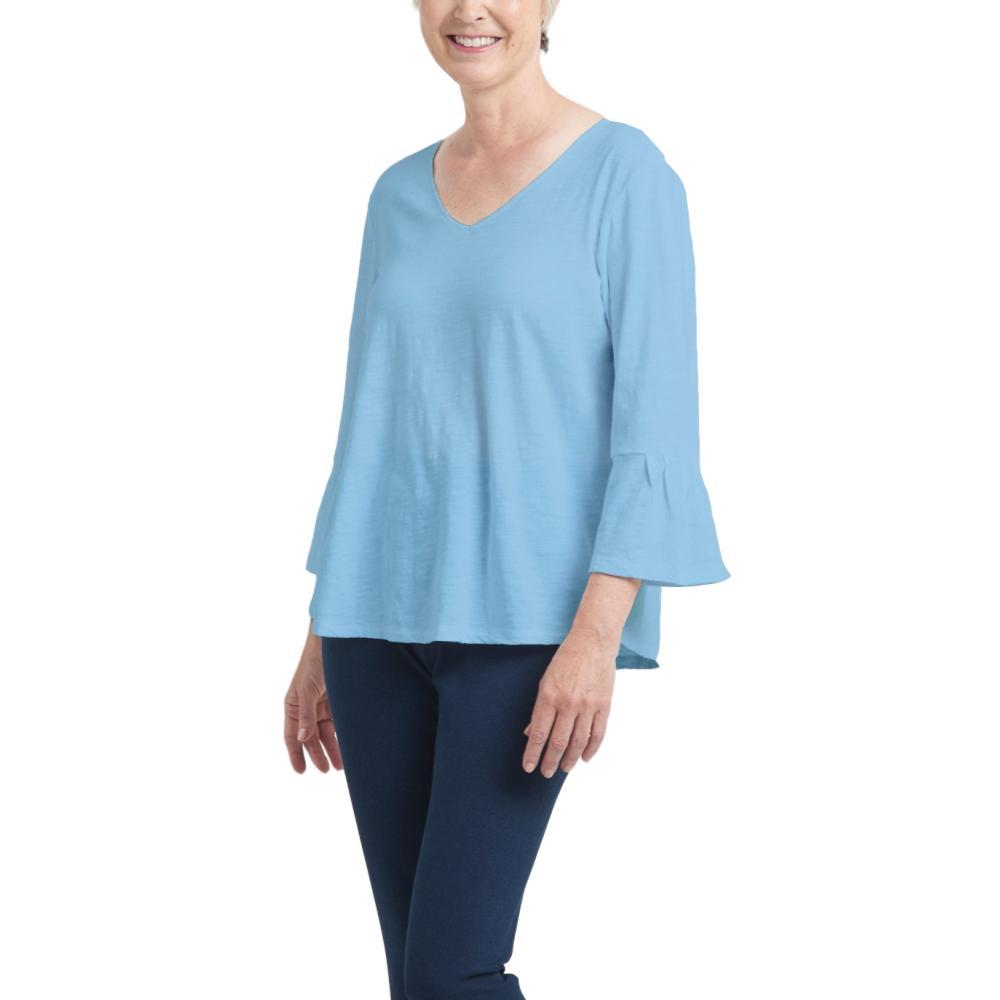 Habitat Clothing Women's Pleated Flounce Sleeve Easy Tee VISTABLUE