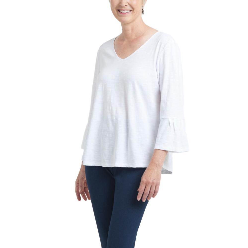 Habitat Clothing Women's Pleated Flounce Sleeve Easy Tee WHITE