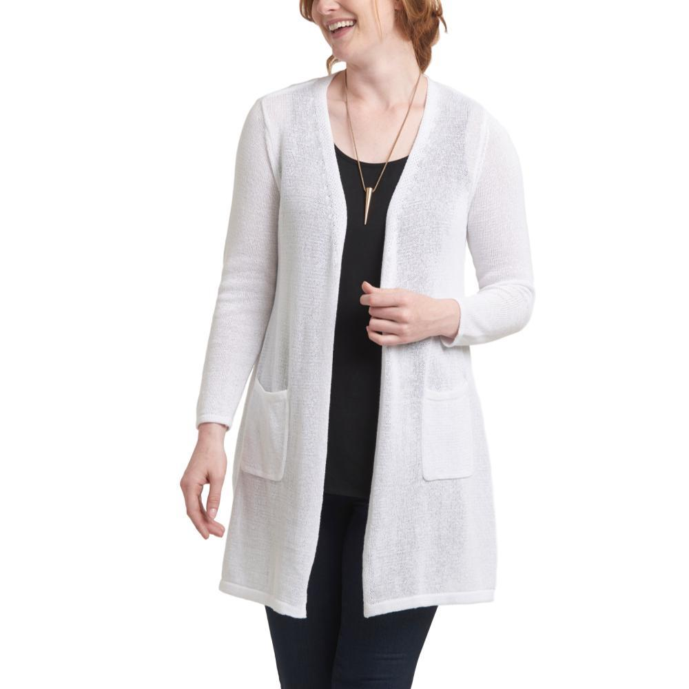 Habitat Clothing Women's Easy Pocket Sweater Cardigan WHITE