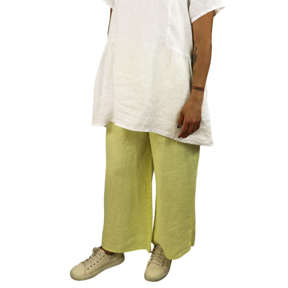 FLAX Women's Airy Flood Pants LEMONGRASS