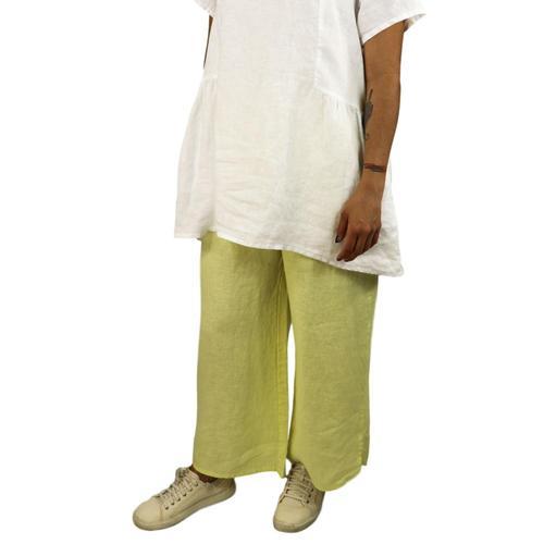 FLAX Women's Airy Flood Pants Lemongrass