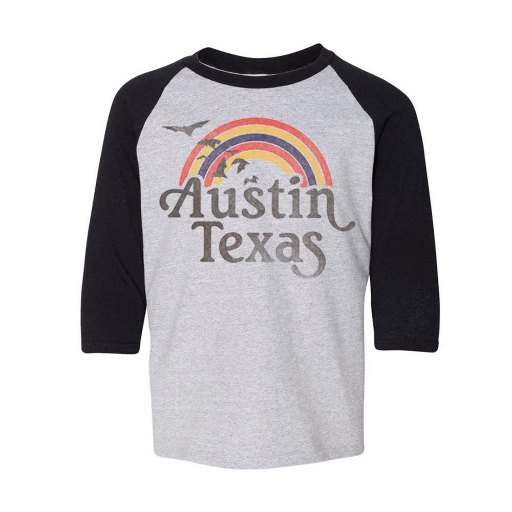 Kids Batty Rainbow Raglan Shirt GREY