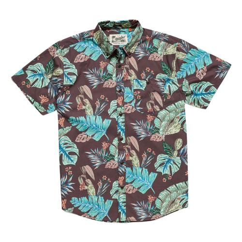 Howler Brothers Men's Mansfield Third Coast Print Short Sleeve Shirt Coffee