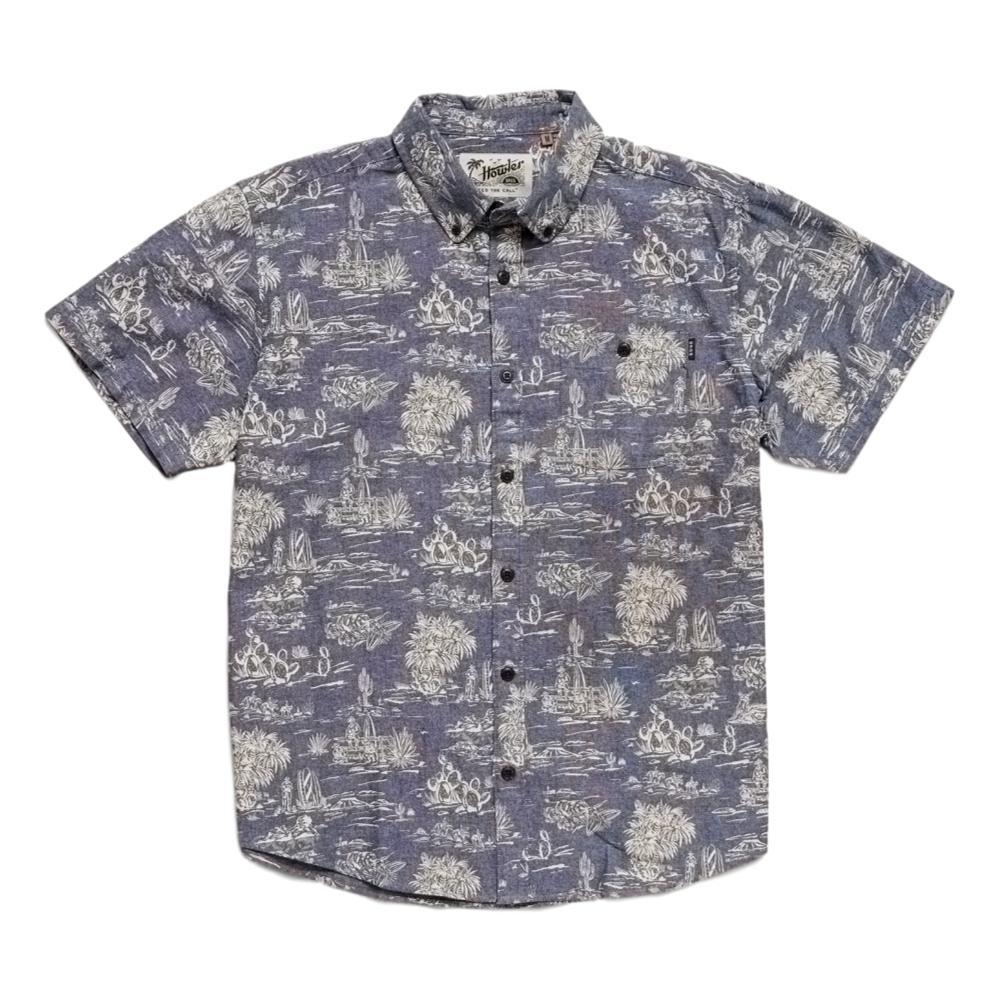 Howler Brothers Men's Mansfield Outpost Print Short Sleeve Shirt INDIGO