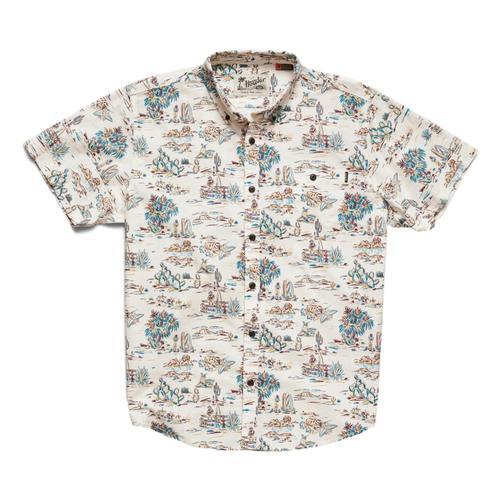 Howler Brothers Men's Mansfield Outpost Print Short Sleeve Shirt Vintagewhite