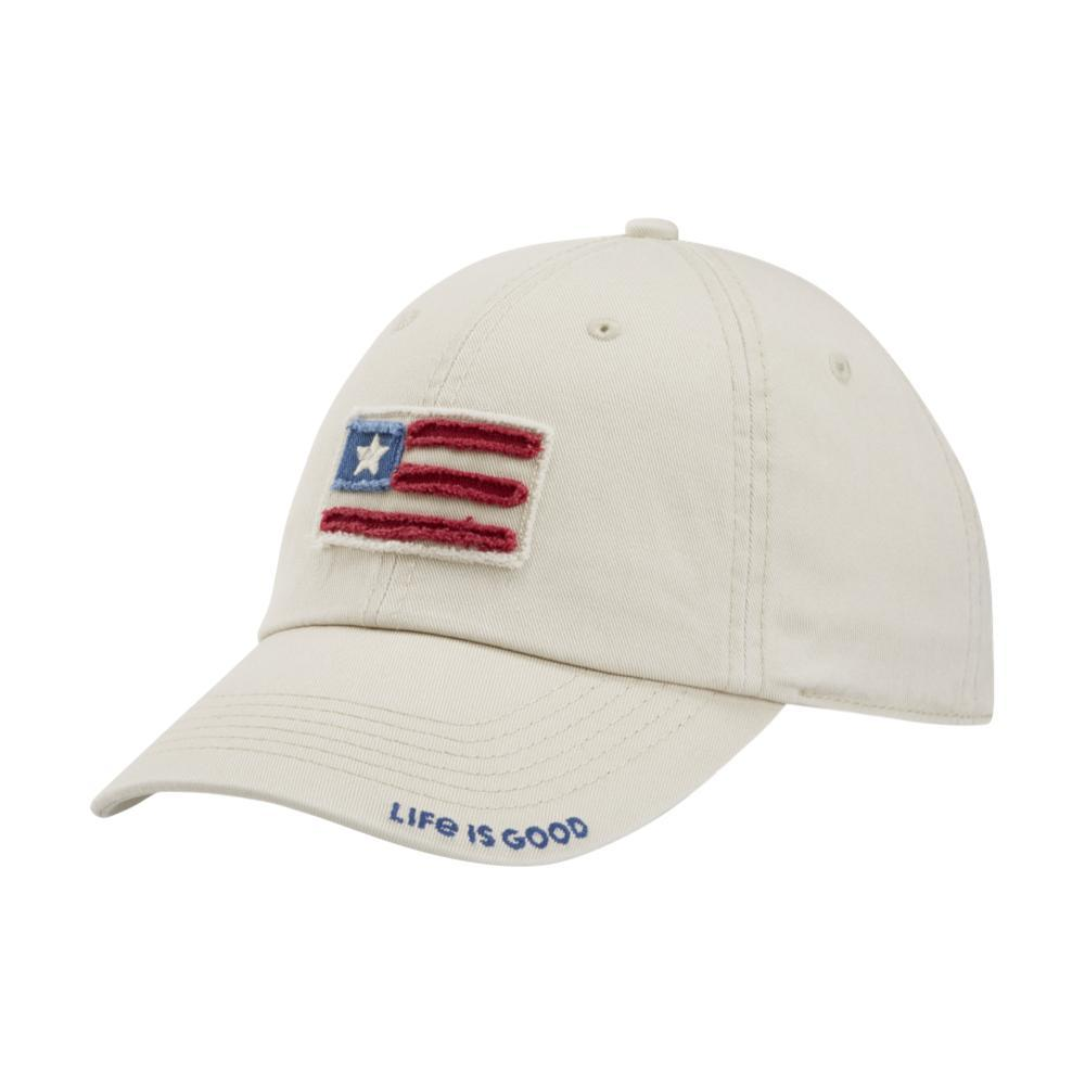 Life is Good Flag Applique Tattered Chill Cap BONE