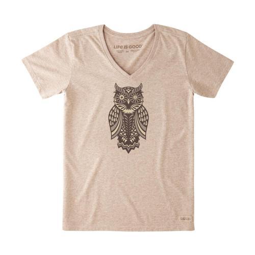 Life Is Good Women's Magic Owl Crusher Tee Hthmocha