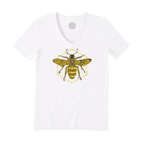 Life Is Good Women's Primal Bee Cool Vee Cloudwhite