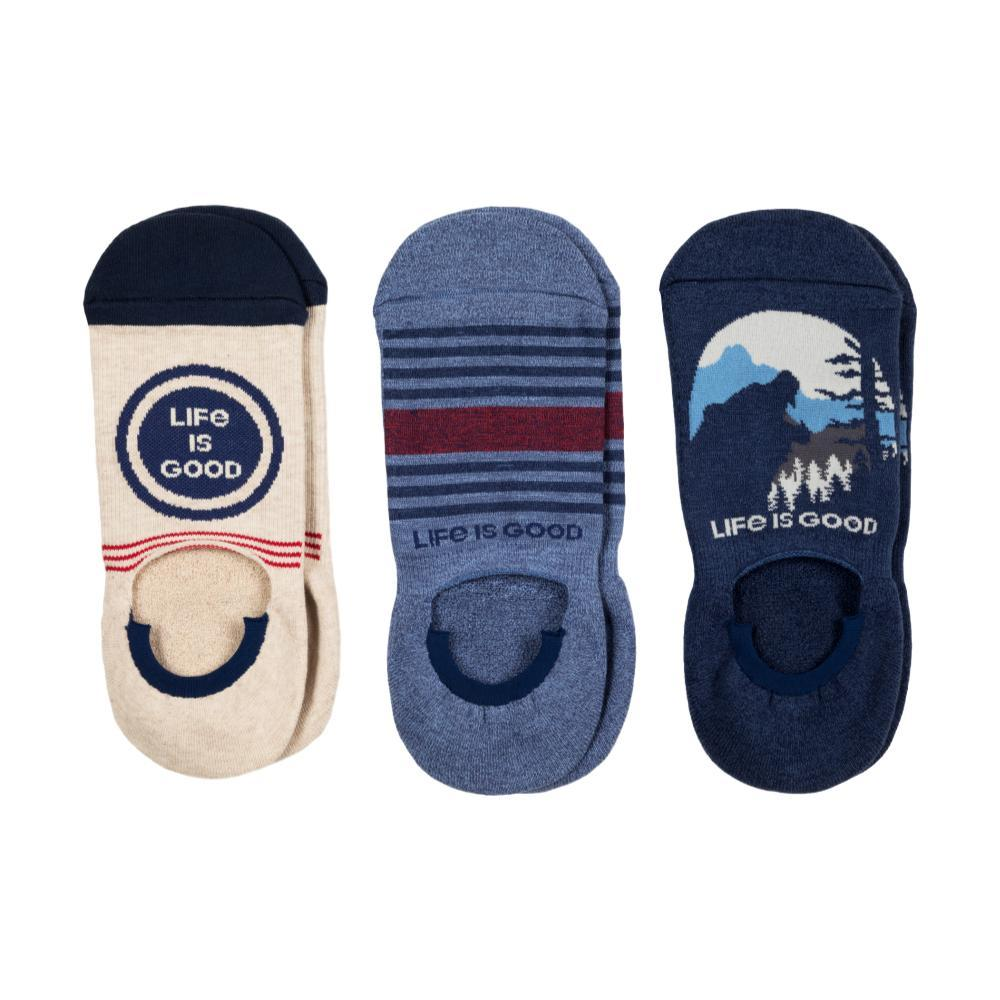 Life is Good Men's 3-Pack Life is Good Bear Cushioned Invisible No Show Socks BLUEMULTI