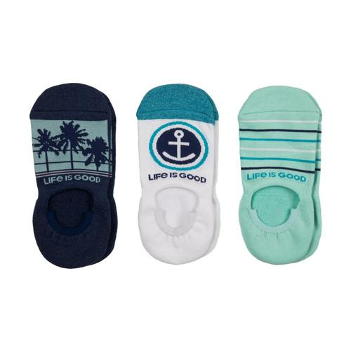 Life is Good Women's 3-Pack Palm Tree & Anchor Cushioned Invisible No Show Socks Anchor