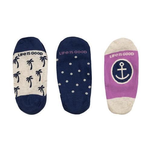 Life is Good Women's 3-Pack Palm Tree & Anchor Liner Socks Darkestblu