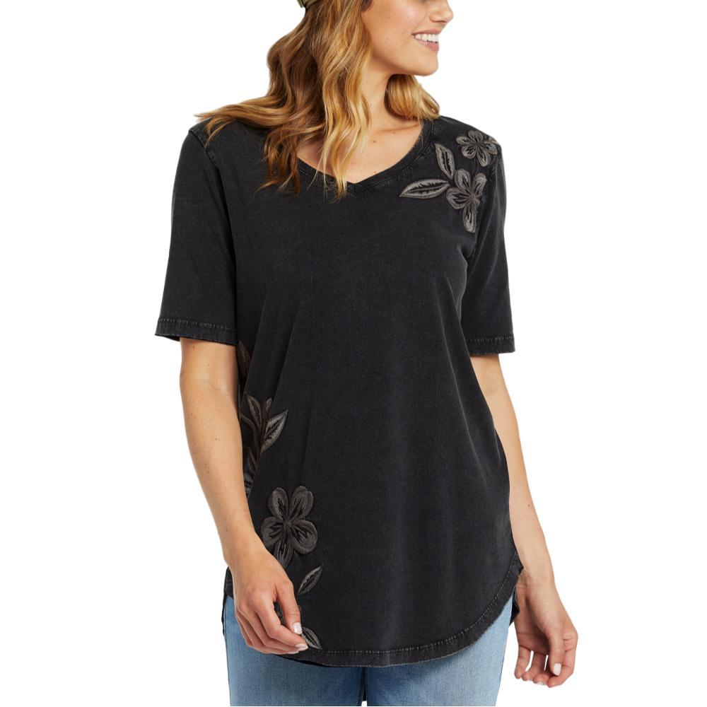 Life is Good Women's Blooming Pansies Embroidery Freestyle Wash V-Neck Tunic JETBLACK