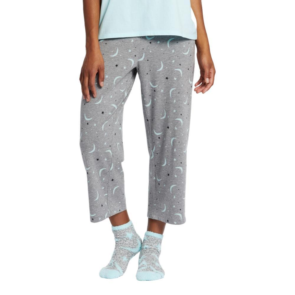 Life is Good Women's Starry Moons Cropped Sleep Pants HTHRGRAY