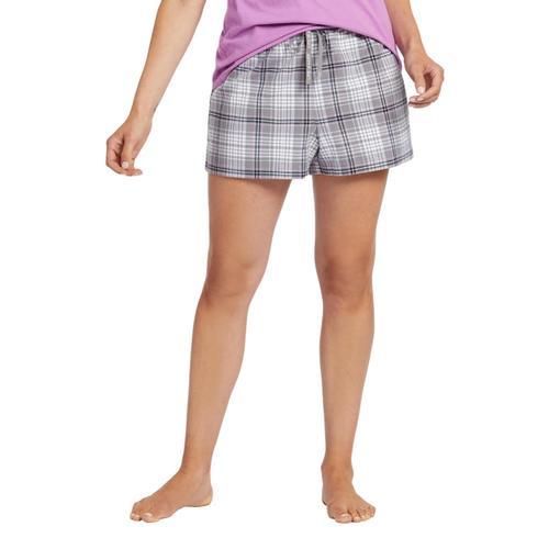 Life is Good Women's Grey Grape Plaid Classic Sleep Boxers Slategray