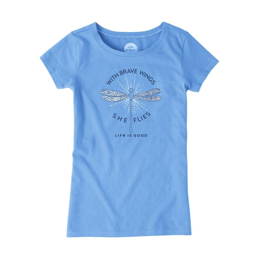 Life is Good Girls With Brave Wings She Flies Crusher Tee PWDRBLUE