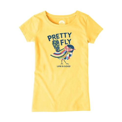 Life is Good Girls Pretty Fly Crusher Tee Hpyyellow