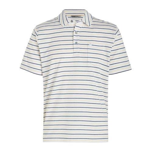 tasc Men's Easy Stretch Stripe Pocket Polo Shirt Whtstripe
