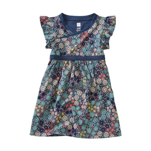Tea Collection Printed Wrap Neck Baby Dress Chrysanthem