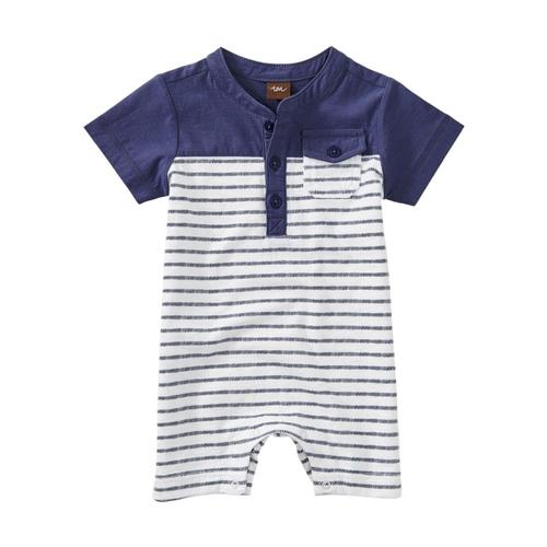 Tea Collection Baby Henley Colorblocked Romper Dashed