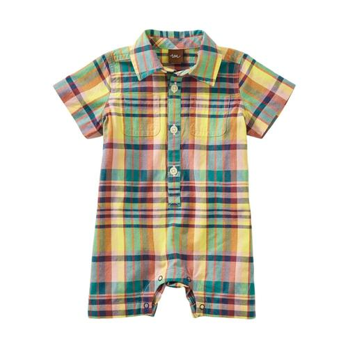 Tea Collection Baby Plaid Buttoned Romper Rainforest