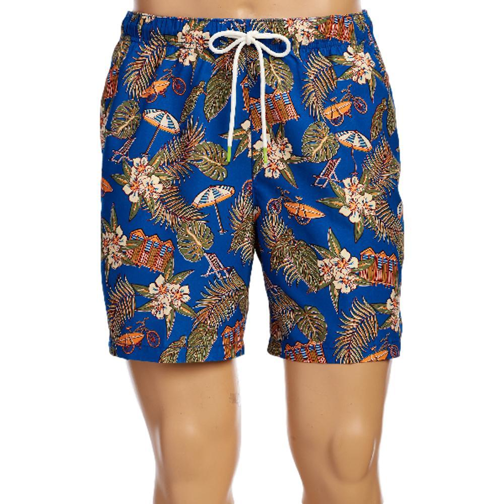 Tommy Bahama Men's Naples Cabana Club Swim Trunks - 6in MADRSBLUE