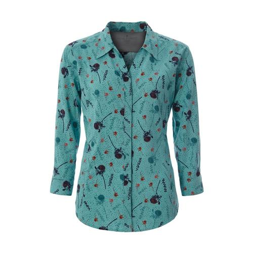 Royal Robbins Women's Expedition Print 3/4 Sleeve Shirt Aqua