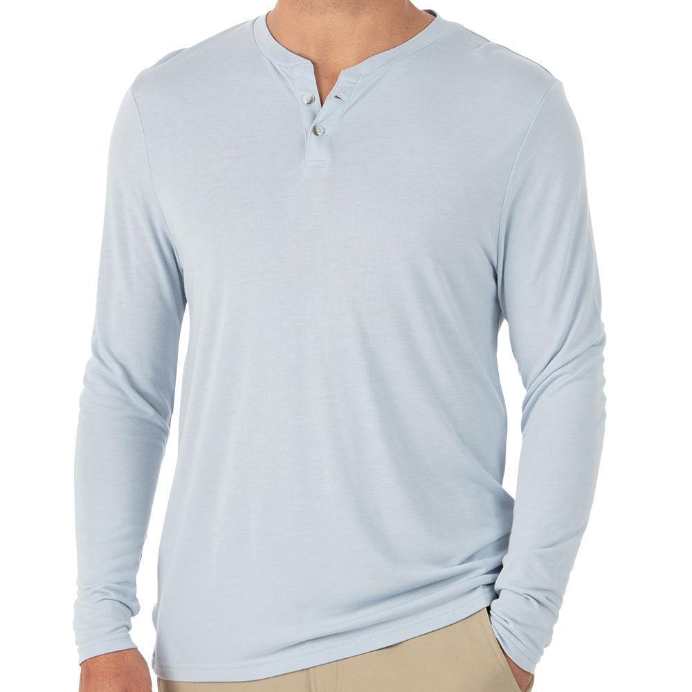Free Fly Men's Bamboo Cruiser Henley Long Sleeve Shirt BLUEMST101