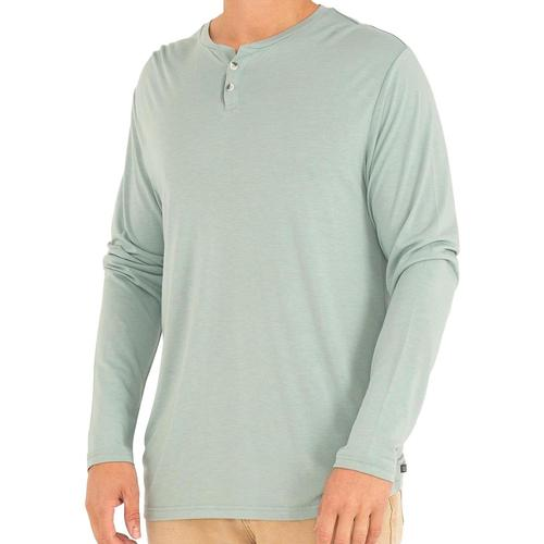 Free Fly Men's Bamboo Cruiser Henley Long Sleeve Shirt Seaglass106