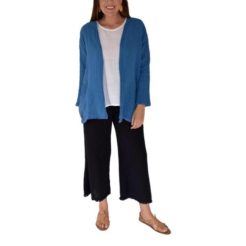 Honest Cotton Women's Candace Cardigan Oceanblue
