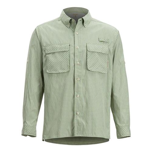 ExOfficio Men's Air Strip Check Plaid Long Sleeve Shirt Whtgrass