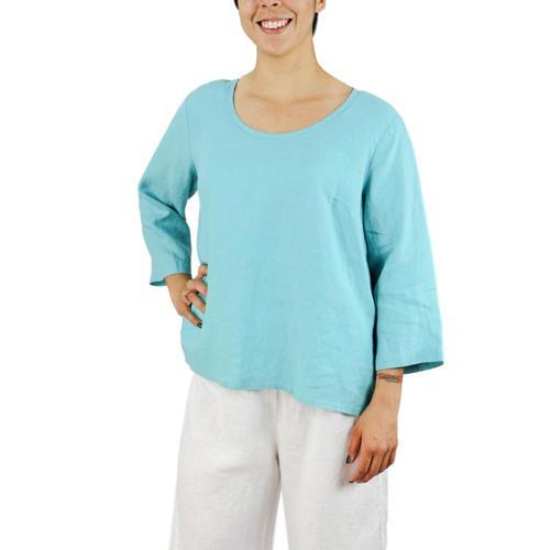FLAX Women's Button Crop Linen Shirt Aruba