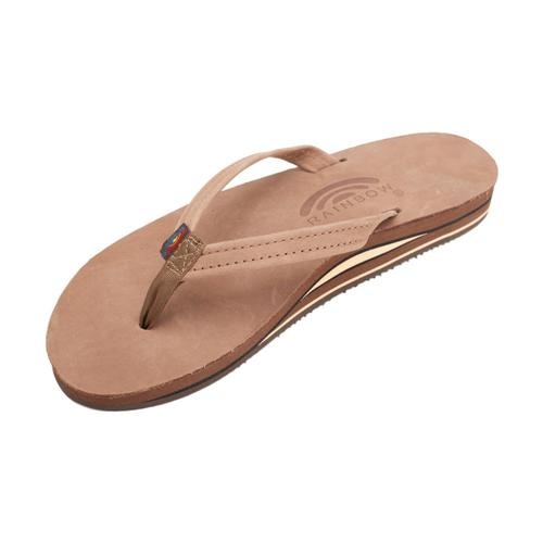Rainbow Women's Double Layer Premier Leather with Arch Support and Narrow Strap Sandals Dkbr