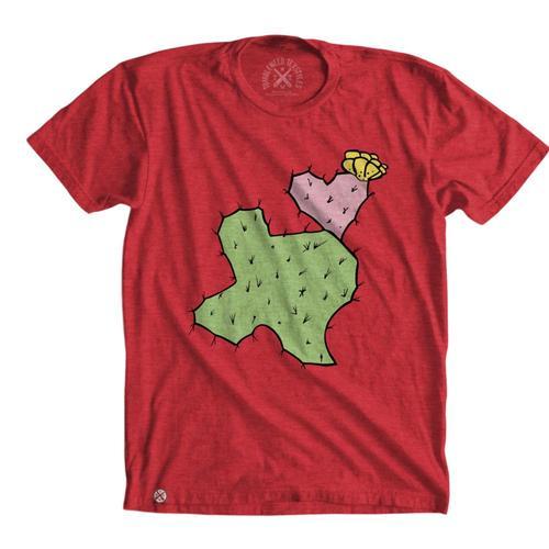 Tumbleweed TexStyles Unisex Cactus Heart Short Sleeve T-Shirts Red