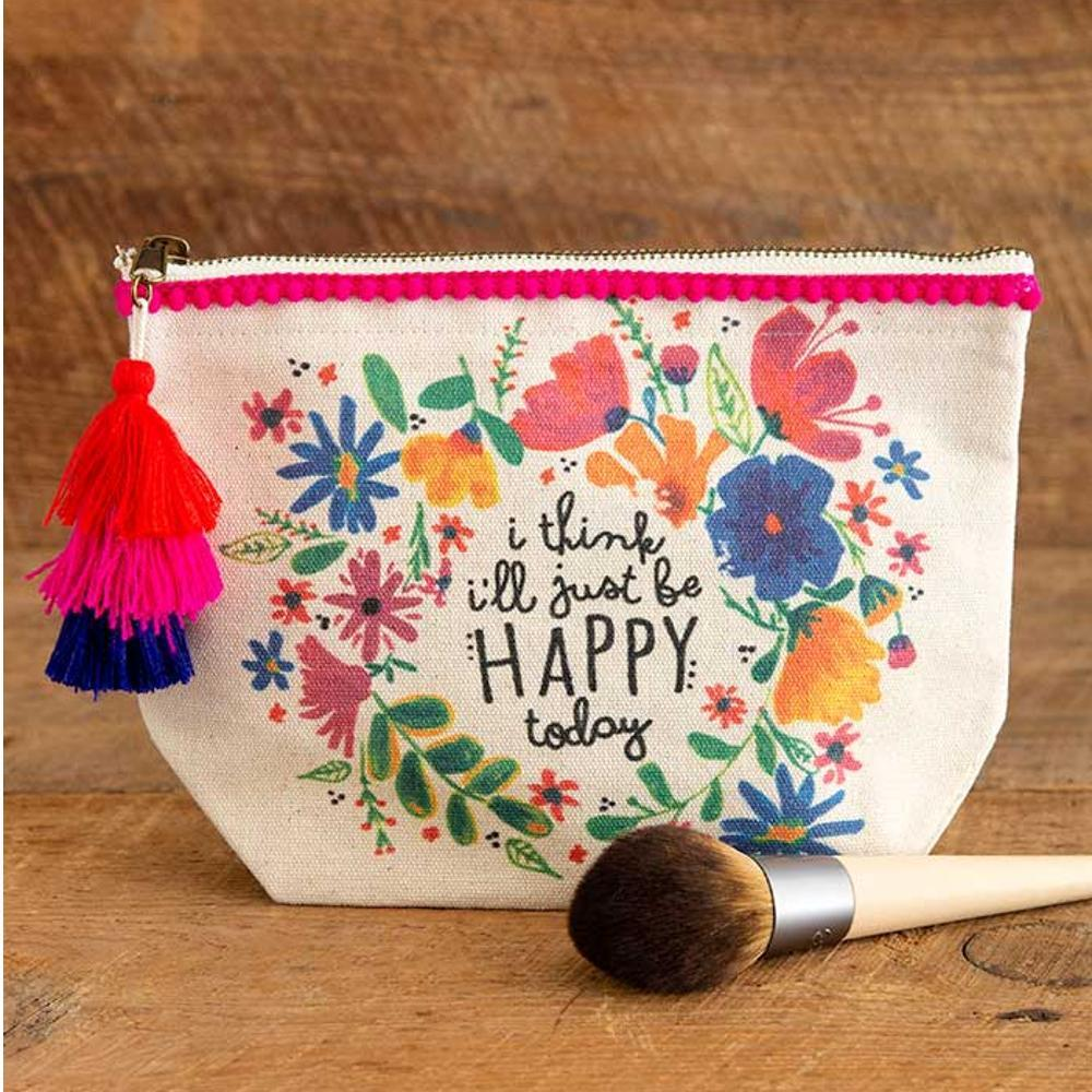 Natural Life I ' Ll Just Be Happy Today Canvas Pouch