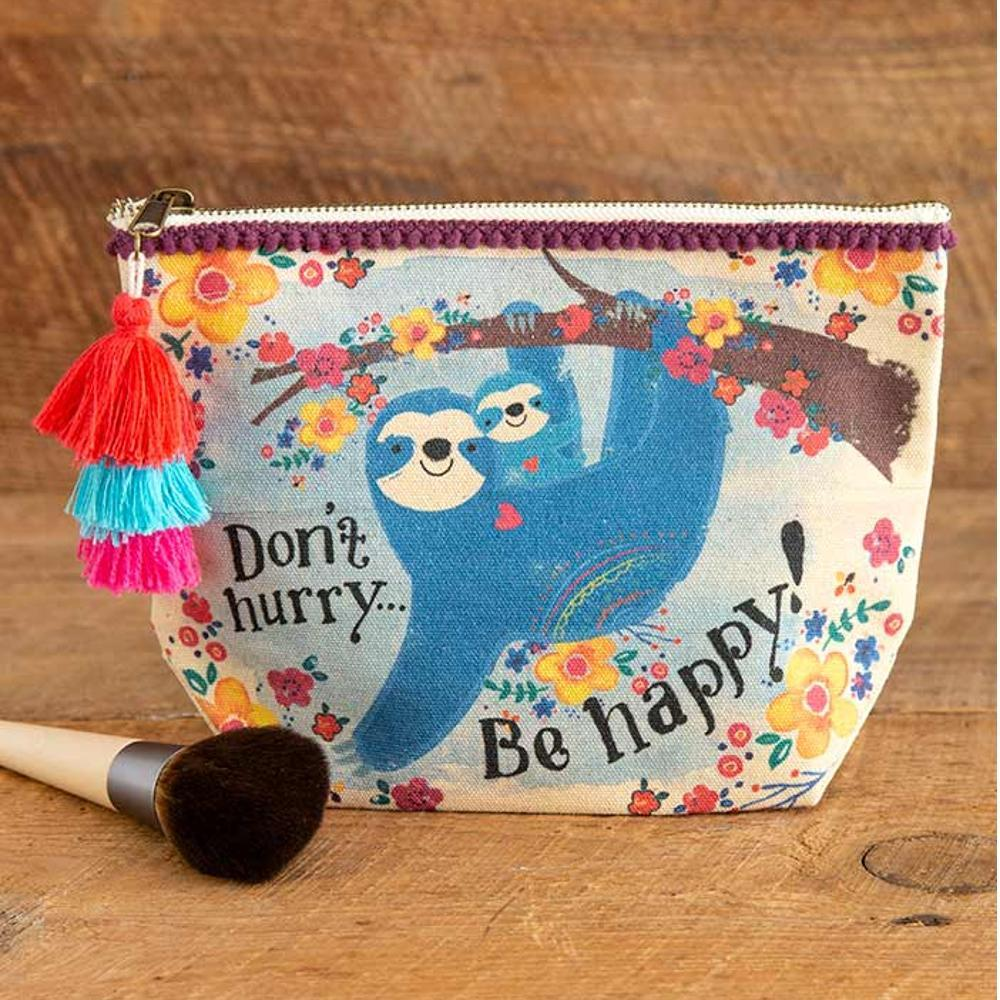 Natural Life Sloth Don ' T Hurry Be Happy Canvas Pouch